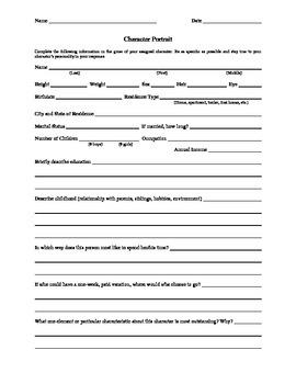 Character Portrait Worksheet