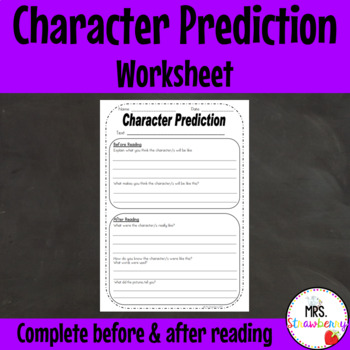Character Prediction Reading Strategy Worksheet