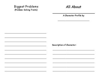 Character Profile Book template (Character Traits)