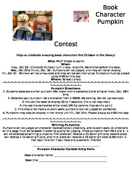 Character Pumpkin Contest in the Library