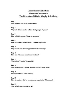 Character Questions for The Liberation of Gabriel King
