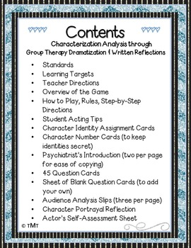 Character Analysis Drama Activity with Assessments; Common Core Characterization