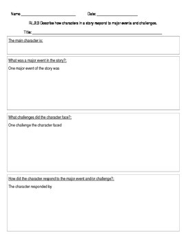 Character Response Graphic Organizer RL2.3