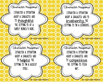 Character Response Task Cards