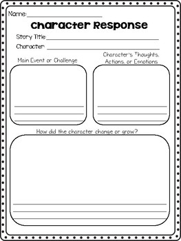 Character Response Worksheet