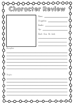 Character Review Worksheet