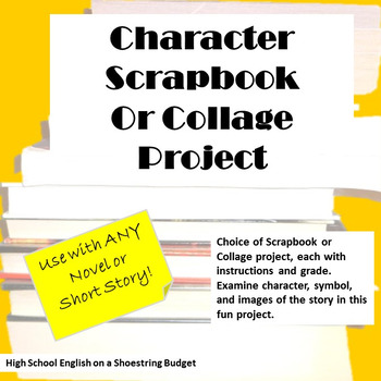 Character Scrapbook or Collage Project, Works with Any Novel or Short Story