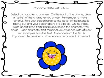 """Character """"Selfie"""" Project with Rubric"""