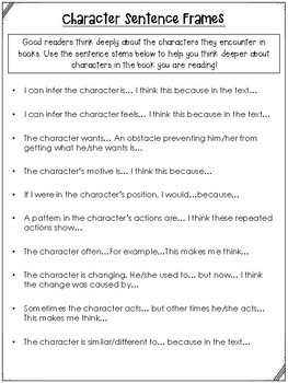 Character Sentence Frames for Character Study
