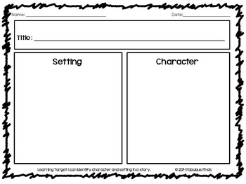 Character & Setting Graphic Organizer
