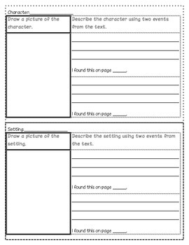 Character, Setting, Sequence of Events Graphic Organizers