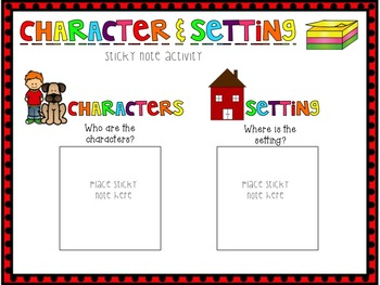Character & Setting Sticky Note Activity