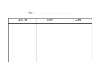 Character, Setting, and Events Organizer
