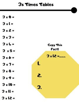 No Prep 0-12 Multiplication Times Tables Practice
