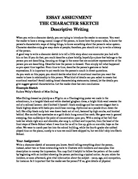 Character Sketch Essay By Mz S English Teacher  Tpt