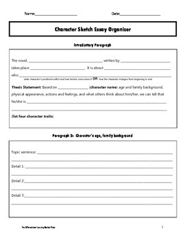 Character Sketch Essay Organizer By The Differentiated Learning  Character Sketch Essay Organizer