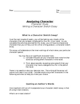 Character Sketch Essay Writing Packet By Updated Classics  Tpt Character Sketch Essay Writing Packet