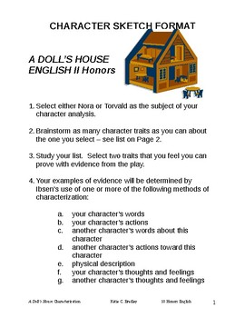 Character Sketch Format -- A DOLL'S HOUSE