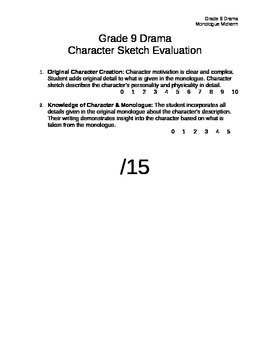 Character Sketch Organizer with Rubric