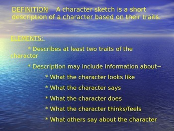 Character Sketch Powerpoint