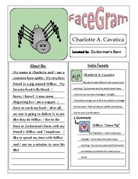 Reading Activity - Character Social Media Page