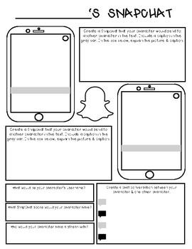Character Social Media Worksheet