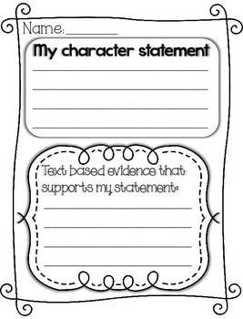 Character Statement Graphic Organizer