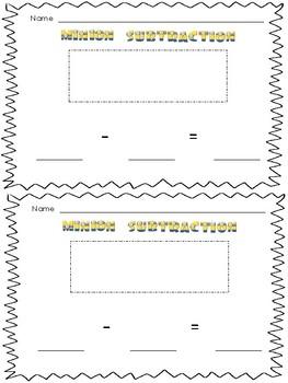 Character Sticker Subtraction Sheets (Minions, Mickey, Ninja Turtles, and Emoji)