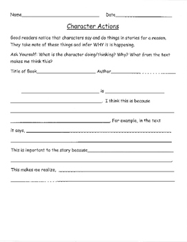 Character Strategies and Graphic Organizers