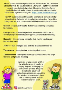 Character Strength Cards / Posters for Kids - Positive Education