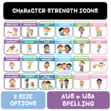 Character Strength Icons  |  AUS + USA Spelling  |  2 Size