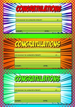 Character Strengths Student Award Template