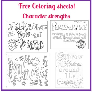 Character Strengths Coloring Sheets (free!) -