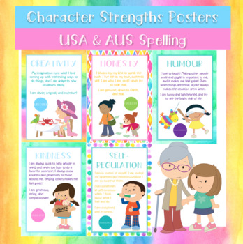Character Strengths Poster Set: USA + AUS Spelling