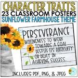 Character Strengths Posters | Sunflower Farmhouse Classroom Decor