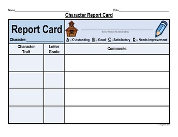 Character Study - Character Report Card
