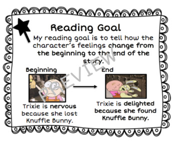 """Character Study Goal Cards """"Knuffle Bunny"""" Themed"""