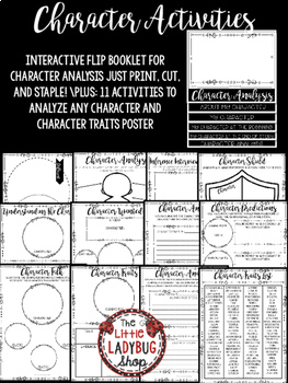 Character Analysis Activities & Character Traits Graphic Organizers, Flip Book