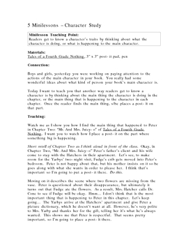 Character Study Minilessons Using Tales of a Fourth Grade Nothing