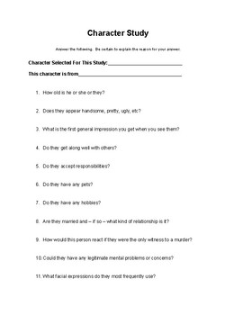 Character Study Questions (50)