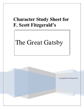 Character Study Sheet for THE GREAT GATSBY