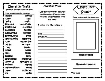 Character Study Trifolds