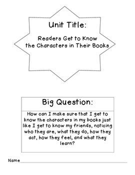 Character Study Unit Plan