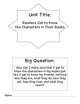 Character Study Unit Plan
