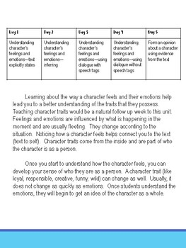 Character Study--feelings and emotions