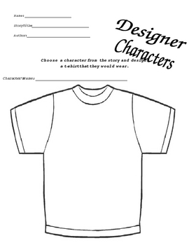 Character T-Shirts and Wanted Poster Worksheets