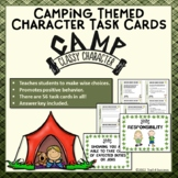Character Task Cards Promote Positive Behavior - 56 Camping Themed Cards