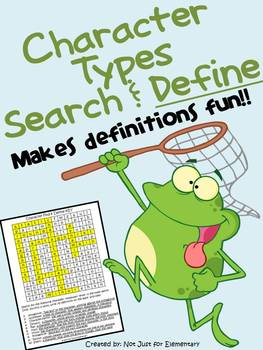 Character Terms: Find & Define Word Search/Vocabulary Worksheet