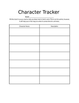 Character Tracker for novels and short stories