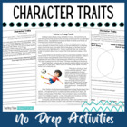 Character Trait Activities - No Prep - Character Trait Passages Included